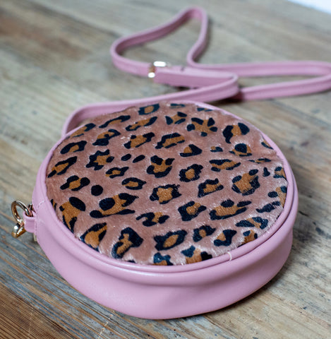 Leopard Print Cross Body Bag - Dusky Pink Leopard