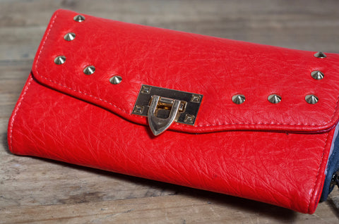 Quilted Stud Wallet - Red