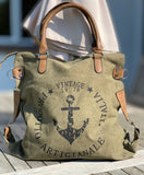 """Vintage"" Anchor Large Canvas Bag - Army Green"
