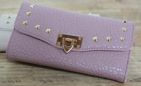 Quilted Stud Wallet - Pink