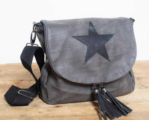 Leather Effect Messenger Bag - Vintage Grey