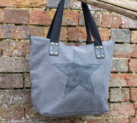 Star Canvas Bag - Vintage Grey Star