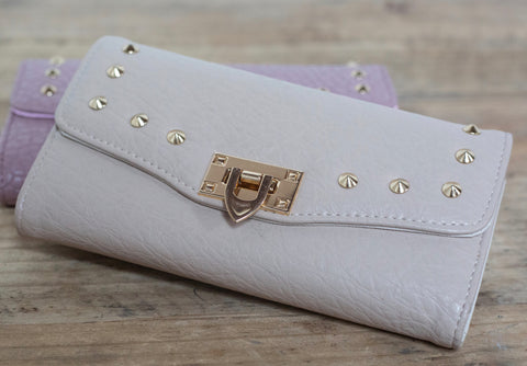 Quilted Stud Wallet - Sand