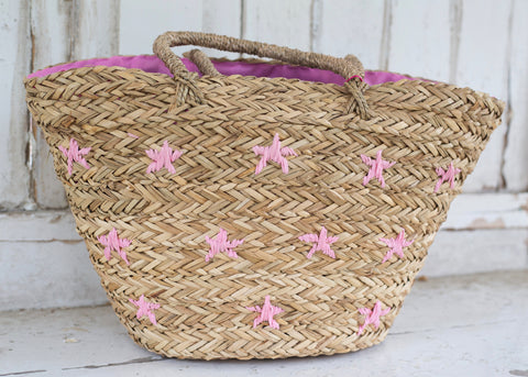 Pink Star Basket Beach Bag
