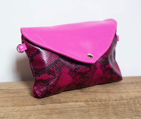 Snakeprint Festival Bag - Hot Pink