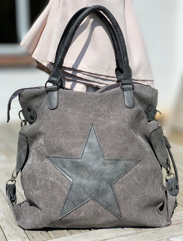 Large Star Canvas Bag - Vintage Grey Star