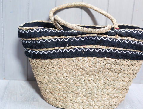 Black Fringe Trim Detail Basket Beach Bag