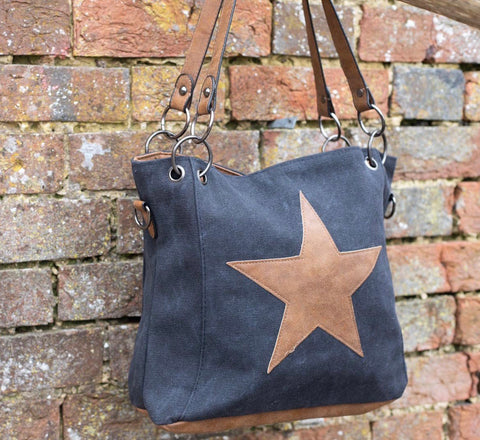 SECOND  Small Star Chain Canvas Bag - black