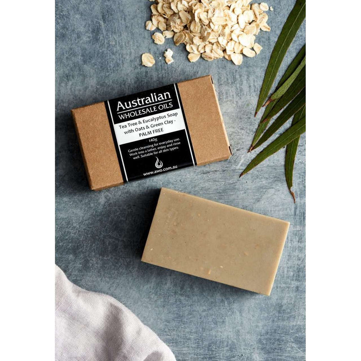 AWO Tea Tree and Eucalyptus Soap with Oats & Green Clay 140g