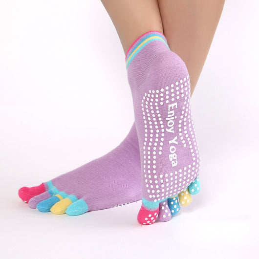 227cf5b40 ... Women Sports Colorful Yoga Socks Hot Fitness And Pilates Cotton Socks  Rainbow Workout Anti Slip Toe ...