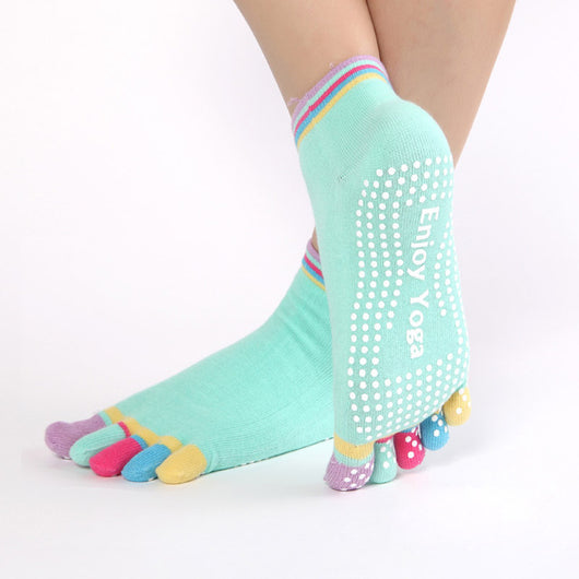 e881d1237 Women Sports Colorful Yoga Socks Hot Fitness And Pilates Cotton Socks  Rainbow Workout Anti Slip Toe