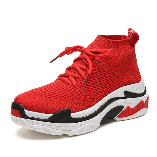 ... FEOZYZ Shark Sneakers Women Men Knit Upper Breathable Sport Shoes  Chunky Shoes High Top Running Shoes ... 98503b0705ac