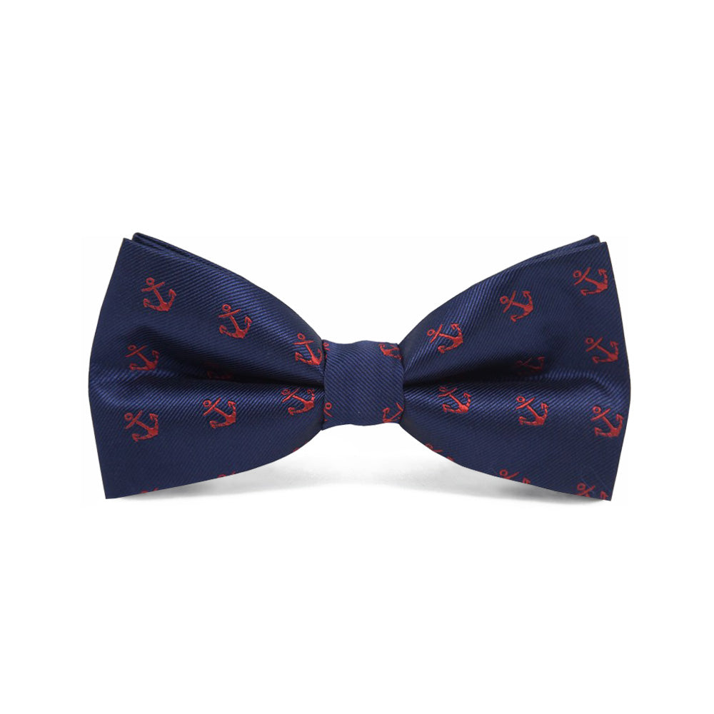 Bow Tie Pre-tied Navy Blue Red Anchor - CoolMenClub UK
