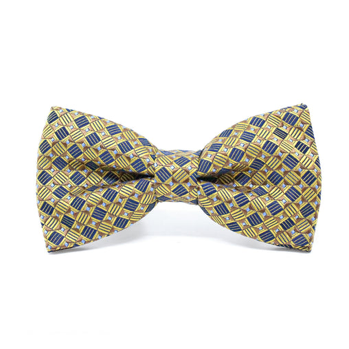 Pre-tied Bow Tie Geometric Gold and Blue Color