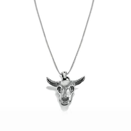 Silver Necklace Bull Skull Horn - CoolMenClub UK