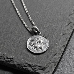 Silver Necklace Dark Ancient Greek Coin