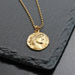 Silver Necklace Gold Color Ancient Greek Coin