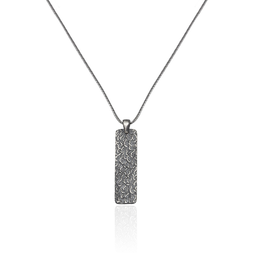 Silver Necklace Bold Line Elliptic Draws - CoolMenClub UK