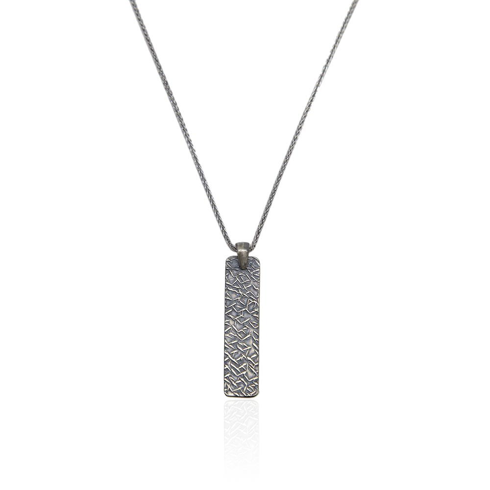 Silver Necklace Bold Line Straight Draws - CoolMenClub UK