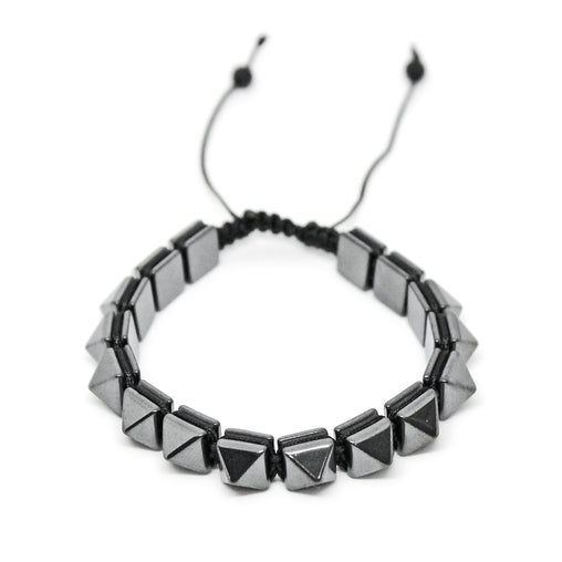 Hematite Stone Grey Color Pyramid Bracelet