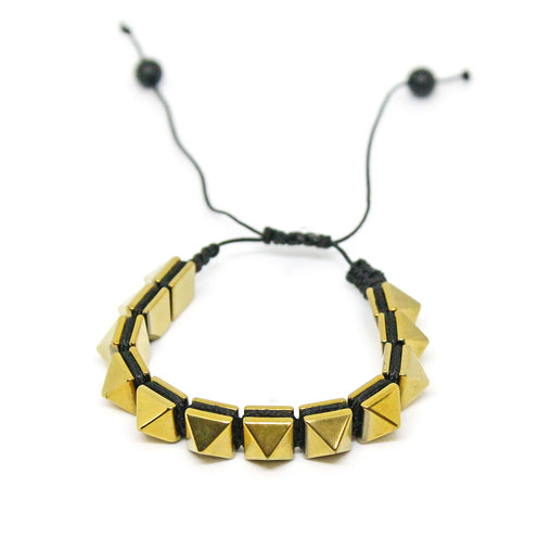 Hematite Stone Gold Color Pyramid Bracelet