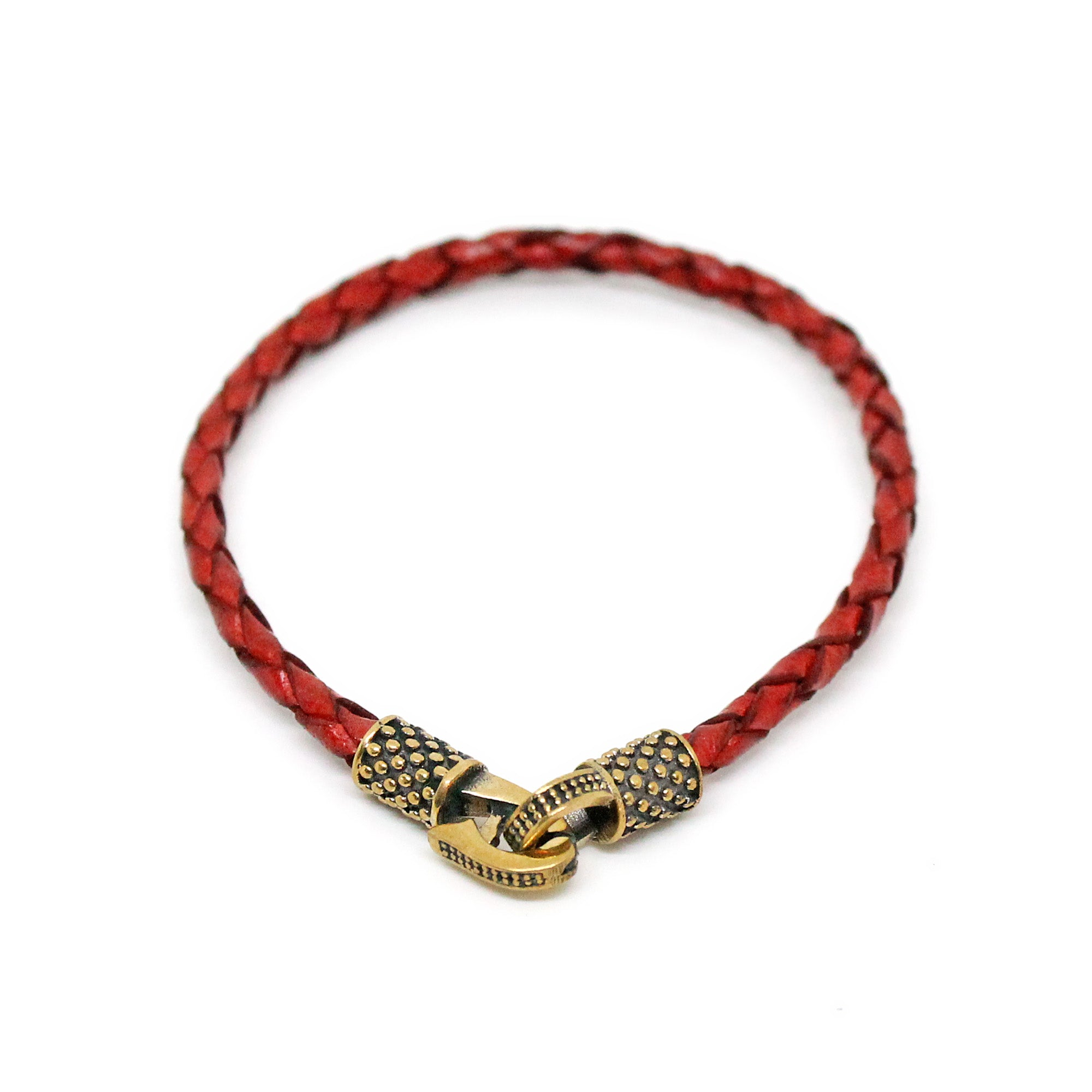 Persian Red Knitted Leather and Coppers Bracelet