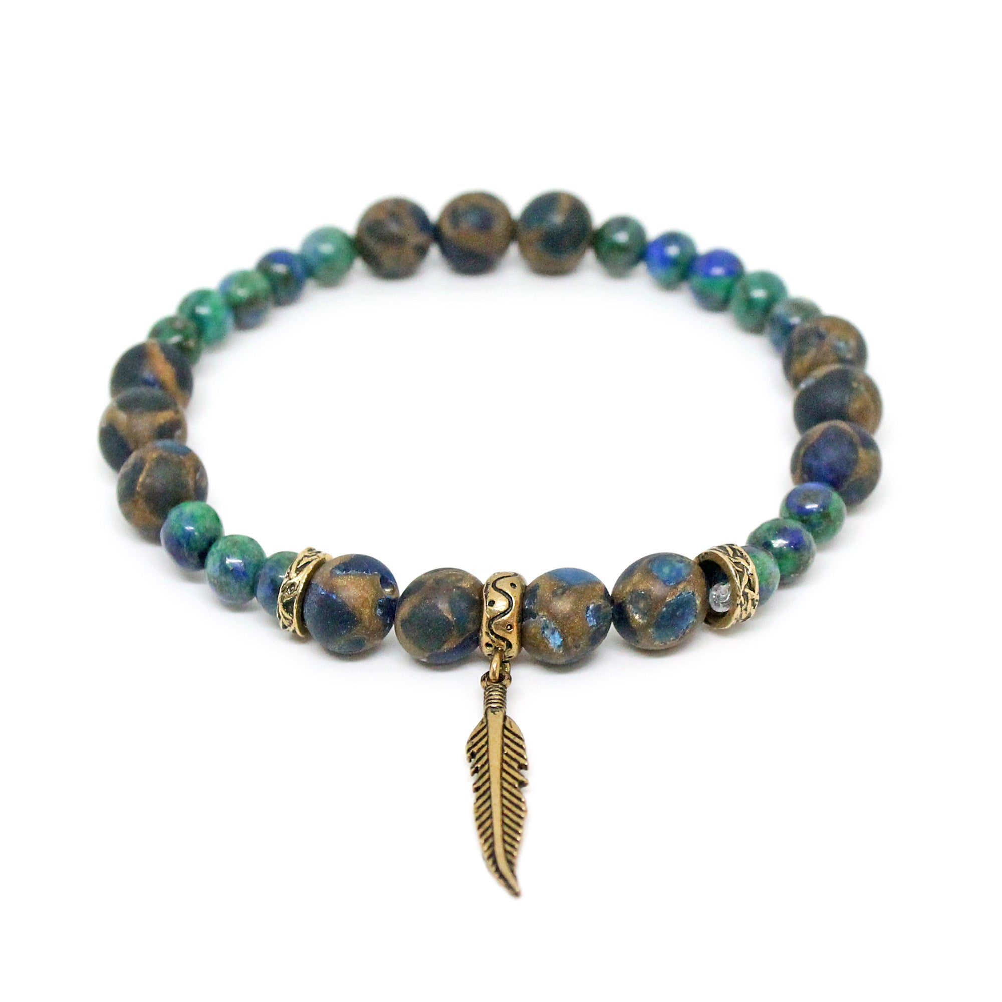 Turtle Agate Chrysocolla Stone Coppers Feather Bracelet