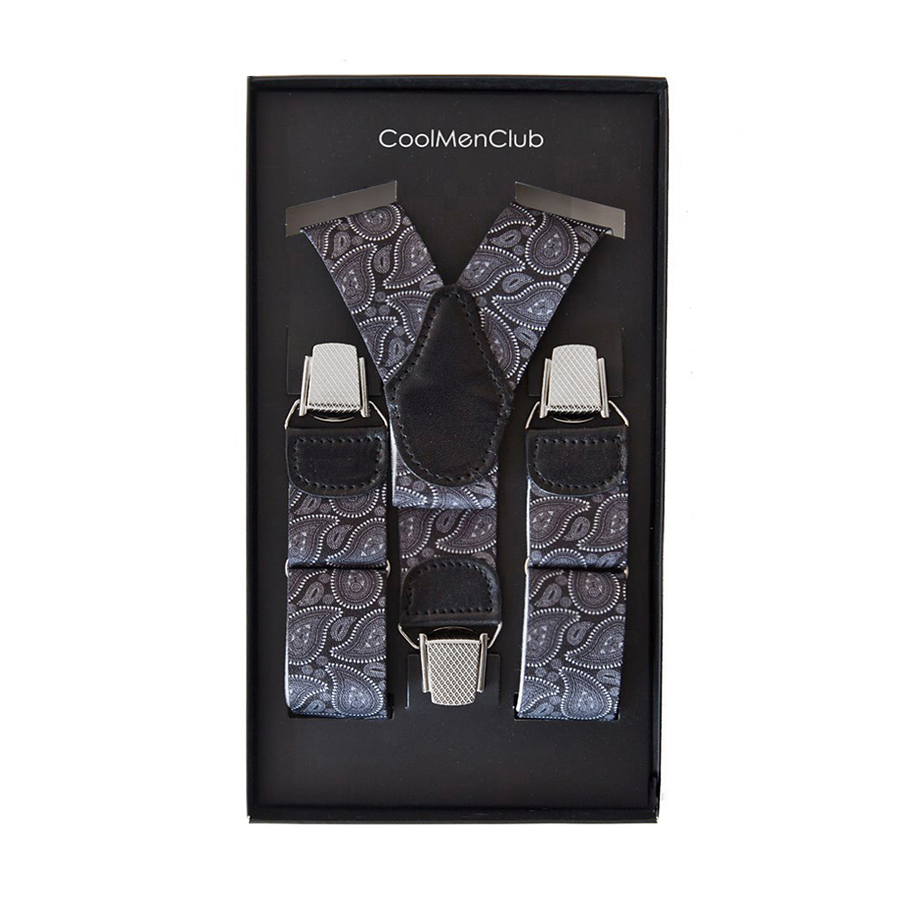 Clip-on Braces Paisley Grey Black - CoolMenClub UK