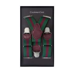 Clip-on Braces Stripe Green Claret Red - CoolMenClub UK