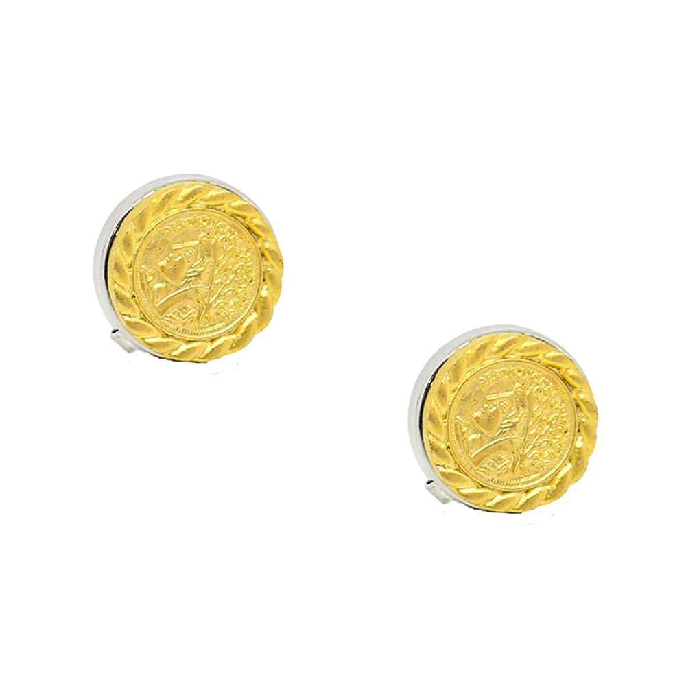 Gold Color Ancient Greek Coin Design Button Cover Cufflink