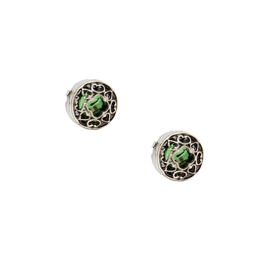 Green Stone Ornament Design Button Cover Cufflink