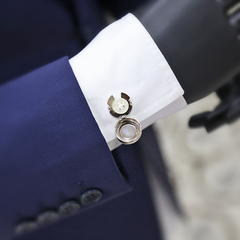 Grey Fresco Button Cover Cufflink
