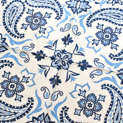 Cotton Neckerchief White and Blue Paisley Design