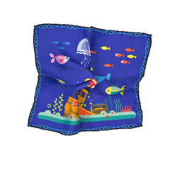 Blue Undersea Ship and Fish Silk Pocket Square