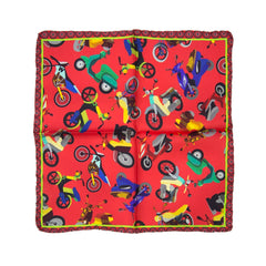 Red Motorcycle Silk Pocket Square