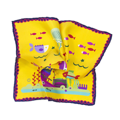 Yellow Undersea Ship and Fish Silk Pocket Square