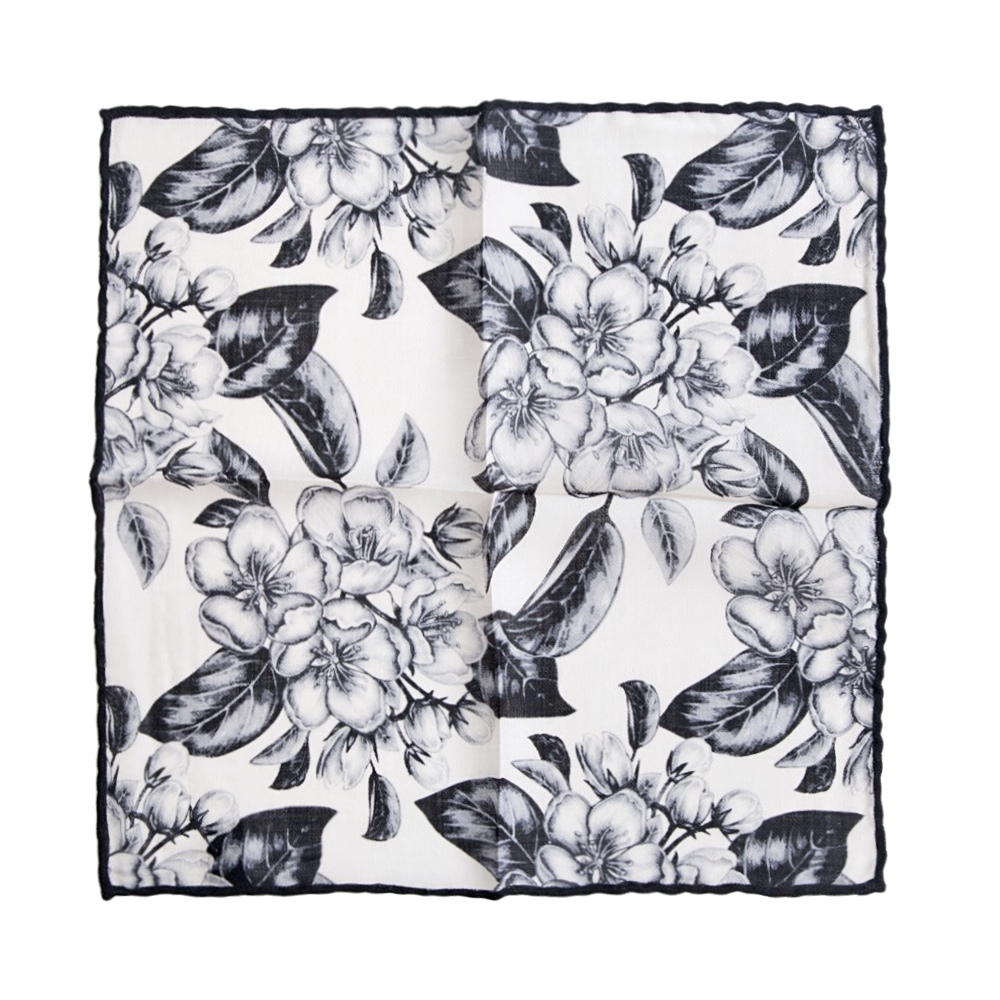 Floral Design Black and White Wool Pocket Square
