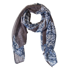 Shawl Scarf Italian Handmade Floral Blue Grey - CoolMenClub UK