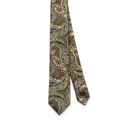 Tie Brown Gold Color Paisley