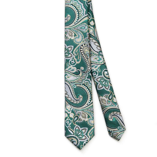 Tie Green Gold Color Paisley