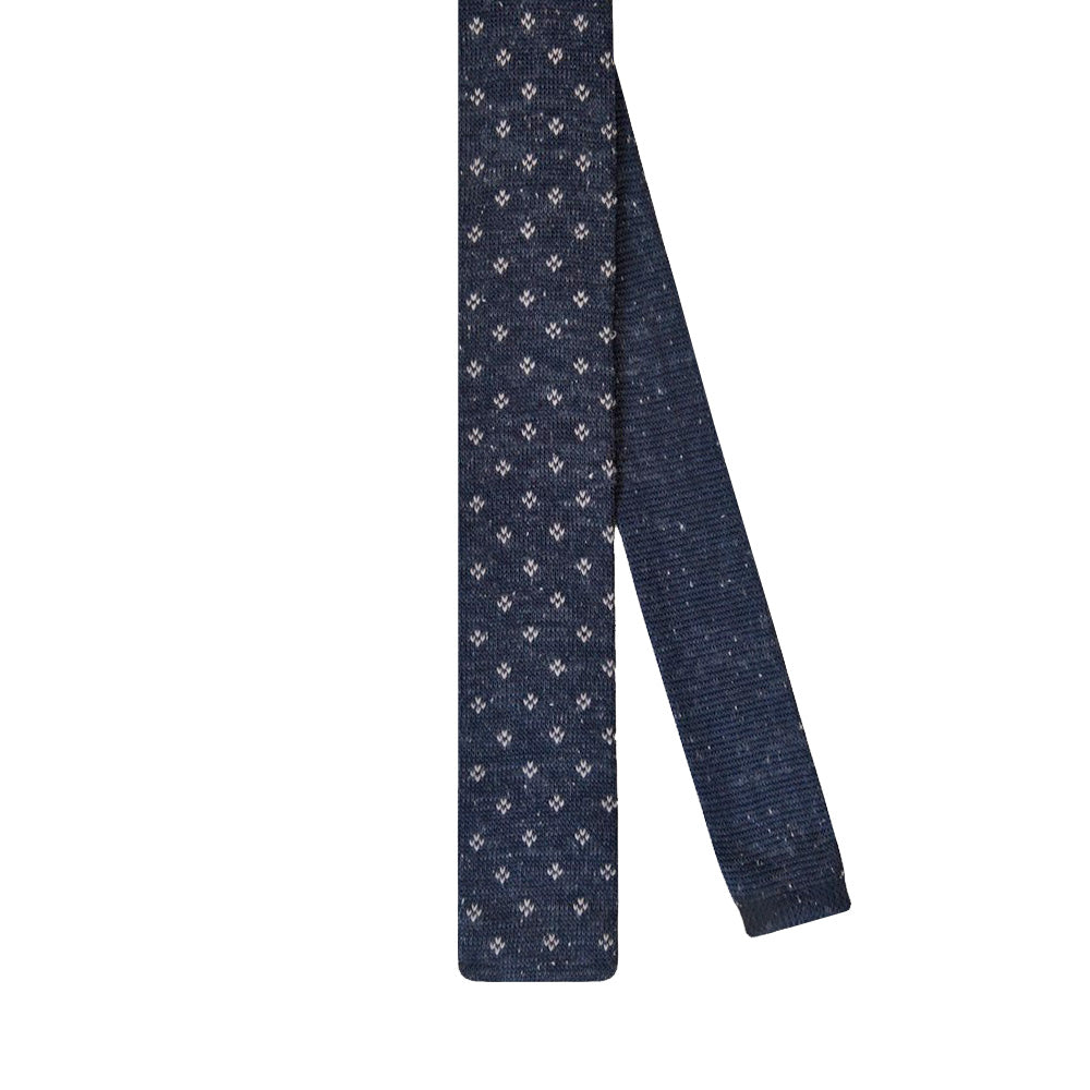 Tie Knitted Navy Blue Dotted - CoolMenClub UK