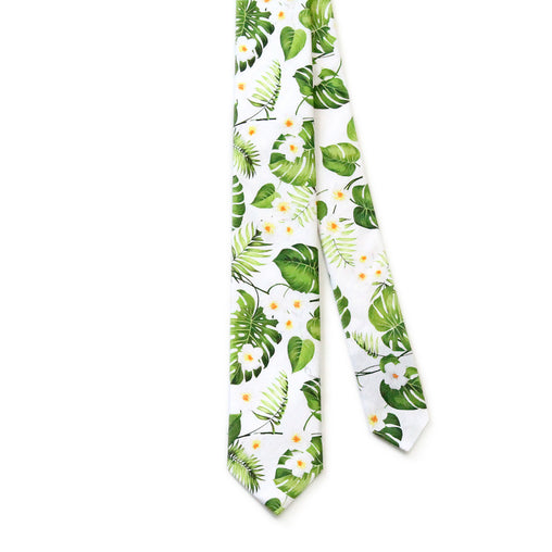 Tie White Green Floral