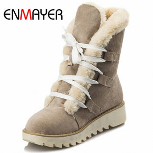 2019  New Cute Lace Up Style Warm Suede Snow Boots - Brows Forever
