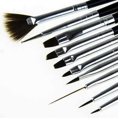 Professional 10 Pc. Nail Art Brush Set - Brows Forever