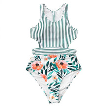 Load image into Gallery viewer, 2019 Flora Print And Striped Patchwork One-Piece Swimsuit - Brows Forever