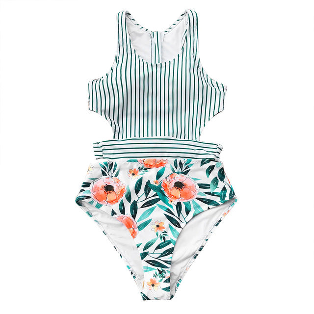 2019 Flora Print And Striped Patchwork One-Piece Swimsuit - Brows Forever