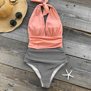 2019 Stripe V neck Halter Backless  One-piece Swimsuit - Brows Forever