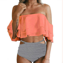 Load image into Gallery viewer, 2019 Sexy High Waist Ruffle Off Shoulder Bikini - Brows Forever