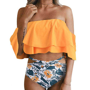 2019 Sexy High Waist Ruffle Off Shoulder Bikini - Brows Forever