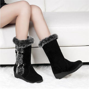 New  Womens Casual Warm Fur Mid-Calf  Snow Boots - Brows Forever